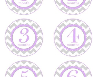 Instant Download - Baby Month to Month Stickers, Monthly Birthday Stickers for Baby, Chevron Photo Prop Birthday Stickers, Chevron, lavender