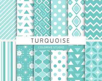 Turquoise digital paper, turquoise & white, polka dots, chevron, stripes, turquoise shades, scrapbook papers (Instant Download)