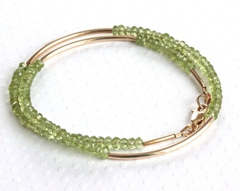Peridot Bracelet, Double Wrap Bracelet, Gold Bead Bracelet, Peridot Jewelry, Gold Filled Jewelry, Green Bracelet, Birthstone Jewelry for Her