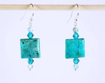 Turquoise Earrings in Square Chrysocolla Beads, Blue Apatite, Swarovski Crystals & 925 Sterling Silver Filled Hook Ear Wires with Ball Ends