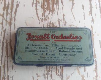 Vintage Rexall Orderlies Tin