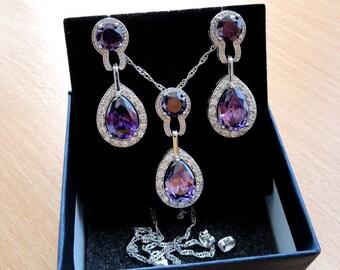 Bridal Jewelry Set Purple Wedding Jewelry Amethyst Necklace Crystal Earrings Wedding Earrings Crystal Necklace Amethyst Earrings Gifts jm