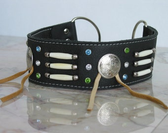 DOG Collar PUEBLO in black Leather Tribal style