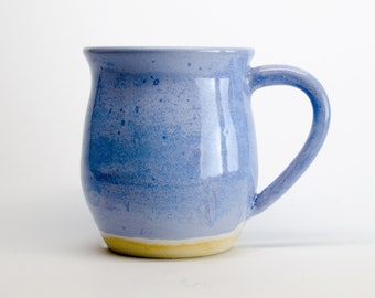 Winter Blue Classic Belly Stoneware Mug - 16oz capacity - pottery - wheel thrown - handmade gift mug - coffee gift - tea - custom ceramic