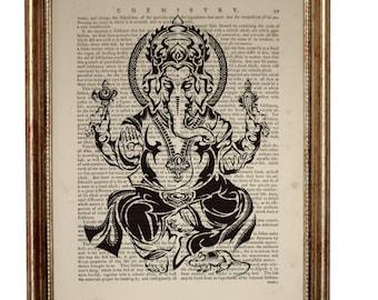 Ganesha Wall Art, Ganesha Print, Dictionary Art Print, Ganesh Wall Decor, Ganesha Wall Hanging, Ganesh Artwork, Book Page Art, Hindu Art