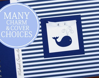 Whale Baby Book | Personalized | Nautical Baby Memory Book | Boy Baby Album Photo Book & Journal | Blue Stripes