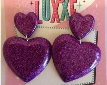 Lucy Luxxe Miz Smitten Kitten QUEEN OF HEARTS Purple Resin Earrings