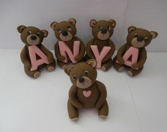 Edible sugar paste, 1 x Name Bear,teddy bears,teddies,cake topper,birthday, christening,boy,girl,baby