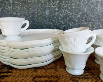 8 Harvest Grape Milk Glass Snack Sets, Indiana Glass Company, Snack Plates & Cups, Service For 8