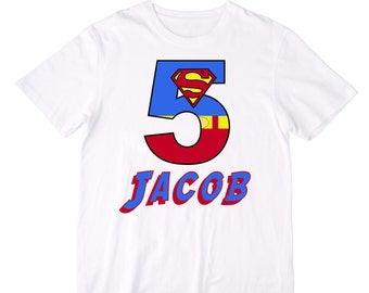 Personalized Superman Superhero Number Birthday Shirt or Bodysuit - Personalized with ANY name and age!