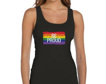 Be Proud Pride Parade Gay Rainbow Flag Women Tank Top