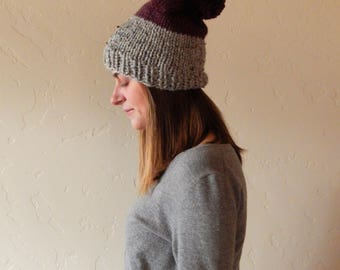 Chunky Slouchy Two-Tone Knit Hat Beanie with Pom Pom Δ The Audrey Δ Grey Marble & Fig