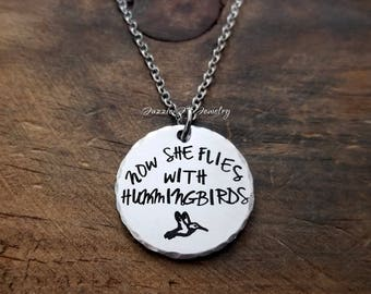 Hummingbird Jewelry, Now She Flies With Hummingbirds Necklace, Hummingbird Memorial Necklace, In Memory of Necklace, Sympathy Gift For Her