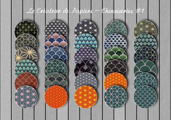 Images pour cabochons: 90 motifs asiatiques différents. Chinoiseries 1