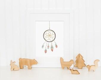 Dreamcatcher Art Print, Dream Catcher Nursery Wall Art - Pink Nursery Art, Feather Art Print - Baby Girl Bedroom Art, Home Decor, Printable