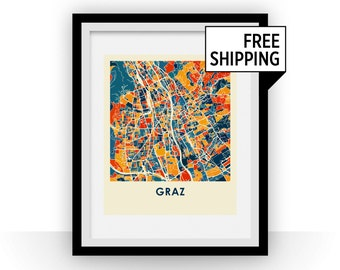 Graz Map Print - Full Color Map Poster