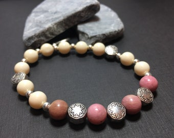 Rhodochrosite, pink rhodochrosite, Beaded Bracelet, boho necklace, pink jewelry, moon jewelry, moon necklace, tiny star bracelet,