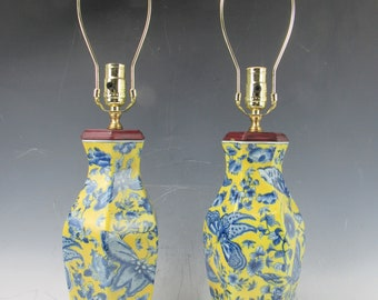 A pair Chinese Yellow Porcelain Vase Blue Butterfly wood Based table Lamp & new Lampshade