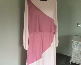 Vintage 1980s two tone pink dress UK 12
