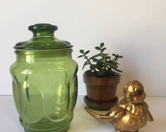 Vintage Apothecary Jar, Green Glass Canister, Mid Century Kitchen, Kitchen Storage Container, Retro Kitchen, Storage Jars, Green Glass Jar