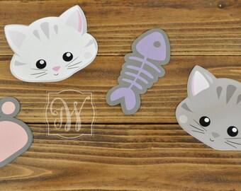 Kitty Cat inspired Cut Outs, Kitty Cat Birthday, Kitty Birthday, Cat Birthday, Cat Party, Kitty Party, Girls Birthday Banner