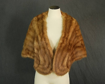vintage 50s Mink Stole 1950s Tan Fur Cape  Mink Fur Wrap Shrug One Size