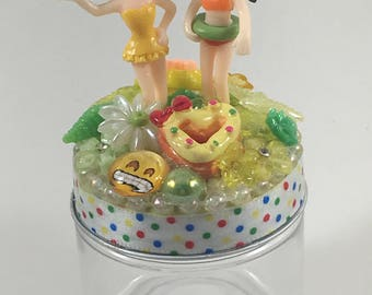 Assemblage Art Trinket Party Favor Jar  --  Sunnin' and Swimmin' Girls