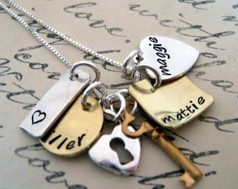 Hand Stamped Charm Necklace - Pieces of Me - Personalized Jewelry - Hand Stamped Jewelry