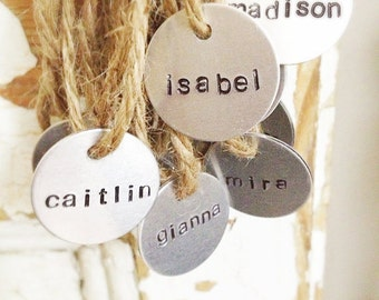 Stamped Metal Name Tag, Charms, Tags, Labels, name tags, hand stamped charms