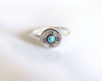 Zia Ring with Turquoise / Made to Order Ring in Sterling Silver / State of New Mexico Symbol Ring / Stacking Ring with Turquoise