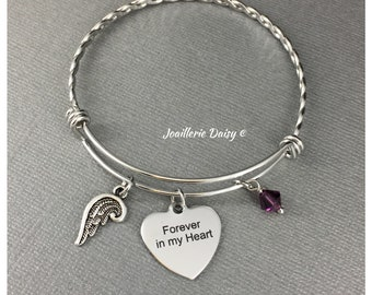 Forever in my Heart Bracelet Bangle Bracelet Sympathy Gift Memorial Jewelry Miscarriage Jewelry Charm Bracelet Family Lost Gift for Her