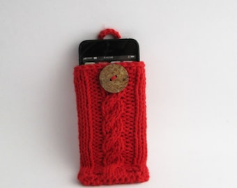 Red iPhone 4, 5, 6, 6+, Samsung Galaxy s3, s4, s5, Galaxy Note 2, 3 or 4, Cell Phone Case Cotton Knit Fabric Coconut Button Crochet Loop