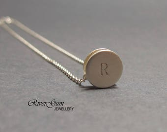 Sterling Silver Initial Necklace, Hand Stamped Necklace, Initial Necklace, Sliding Pendant, Brushed Finish