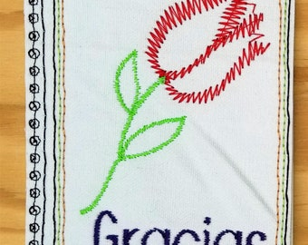 Embroidery Greeting Cards by DiElobi – Thank You Card #3S