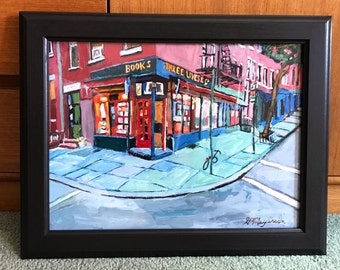 Three Lives & Company bookstore art NYC Reading, books, Book Lover, Gift for Writer, Gift for Reader, Bookstore painting, Gwen Meyerson