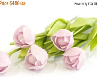 Miniature Polymer Clay Flowers Supplies Tulip with Leaves, 6 stems