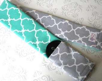 Camera Strap Cover, Padded and Reversible with Lens Cap Pocket, Photographer Gift, Canon, Nikon - Silver Gray with Mint Aqua Moroccan Tile