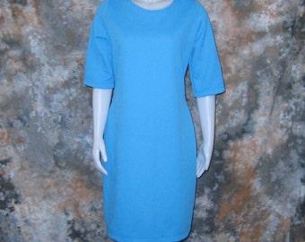 60s Scooter Dress Plus Size Dress Shift Dress Short Sleeve Dress Blue Scooter Dress 1960s Sky Blue Dress Plus Size Vintage Round Neck Dress