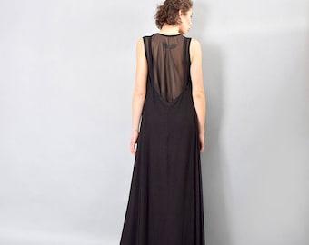 Black maxi dress, sheer back dress, loose dress, woman dress, long dress, sleeveless dress, asymmetric dress, plus size dress - UM-218-VLCH