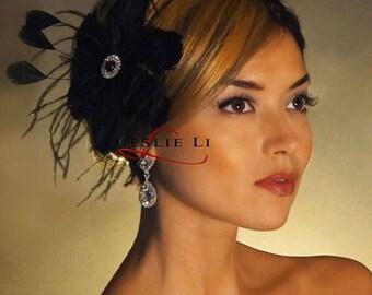 Leslie Li Black Bridal Feather Fascinator with BLack Pearl Center 67blk