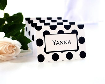 PRINTABLE Posh Dots Black on White Place Cards