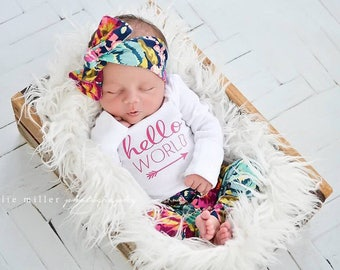 Hello world / hello world outfit / floral leggings / take home outfit /  newborn pictures