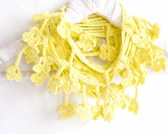 Pastel Yellow Scarf, Egyptian Cotton Crochet Scarf, Floral - MADE TO ORDER
