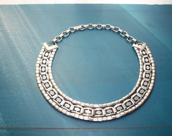 Vintage Silver Chain Choker Necklace Costume Jewelry