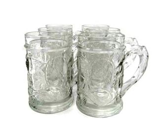 Vintage Crystal Beer Mugs |  Drinking Glasses |  Vintage 1970s Embossed Beer Steins  Teen