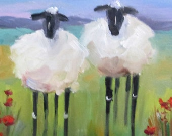 Two Long Legged Sheep oil painting Art by Delilah