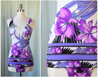 vintage 1970s Swimsuit | medium | vint 70s One Piece Bathing Suit | Pinup Girl | Resort Wear | Beachwear | Purple | Swimwear
