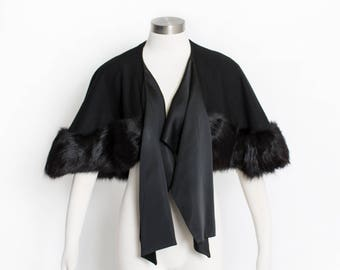 Vintage 1960s Caplet - Black Wool + Fox Fur Wrap Cape 50s - Small / Medium
