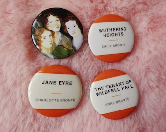 Brontë Sisters Jane Eyre Wuthering Heights Wildfell Hall Classic Classical Literature Book Reading Pin Badge