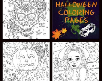 Adult coloring, coloring page,Halloween,3 page pdf download by Nashana Webb